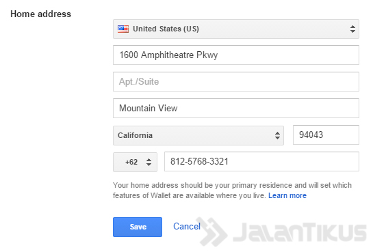 google wallet address