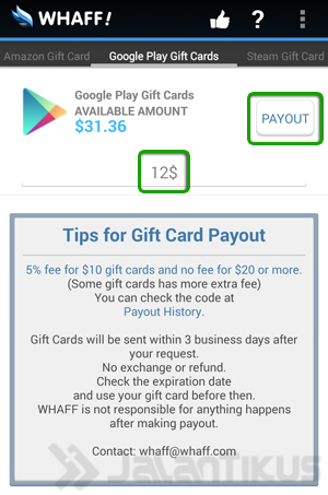payout balance whaff android